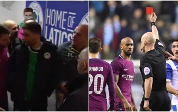 Fabian Delph red card tackle sparks unsavoury scenes on pitch and in tunnel in City Wigan clash