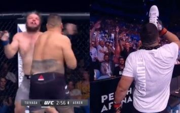 Undefeated UFC prospect Tai Tuivasa celebrates brutal knockout win by chugging beer from a shoe