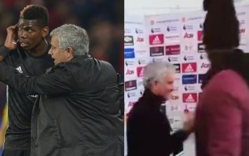 Paul Pogba gatecrashes Jose Mourinho interview after Liverpool game