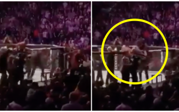 McGregor was on top of cage trading blows before he was attacked from behind