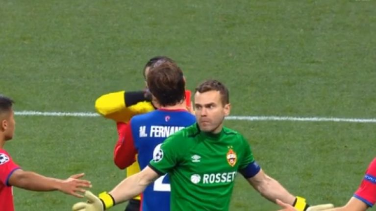 CSKA Moscow goalkeeper Igor Akinfeev receives two yellow cards in 10 seconds