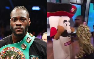 "Deontay Wilder apologises after ""breaking mascot's jaw"" live on television"