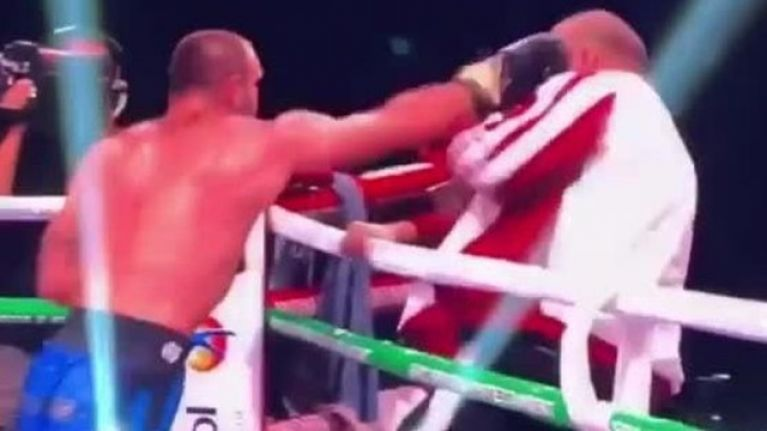 Boxer punches own trainer after losing fight on Pulev vs. Fury undercard
