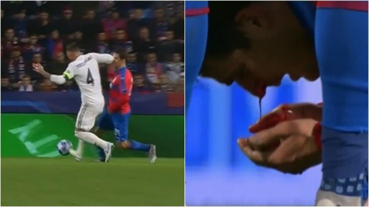 """Sergio Ramos leaves opponent covered in blood after """"disgusting"""" elbow to nose"""