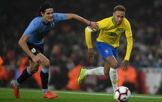 Edinson Cavani flattens Neymar with brutal tackle in international friendly