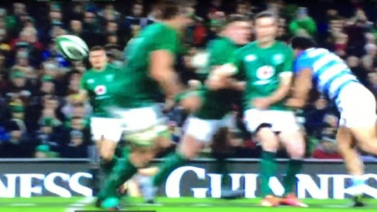 Johnny Sexton absolutely flattened after late hit from Argentina hooker