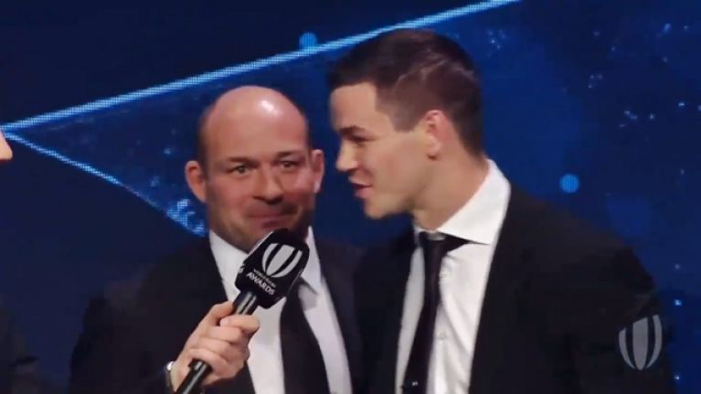Bizarre scenes as Rory Best reads out Johnny Sexton's World Player of the Year speech