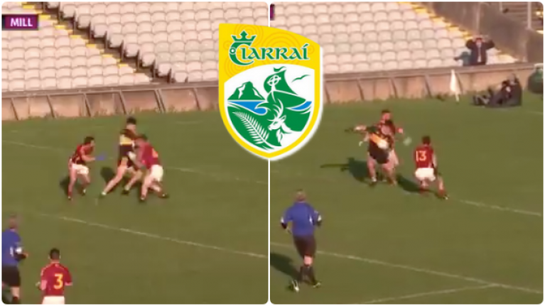 Tony Brosnan turns four times to beat two defenders and put over a cracker