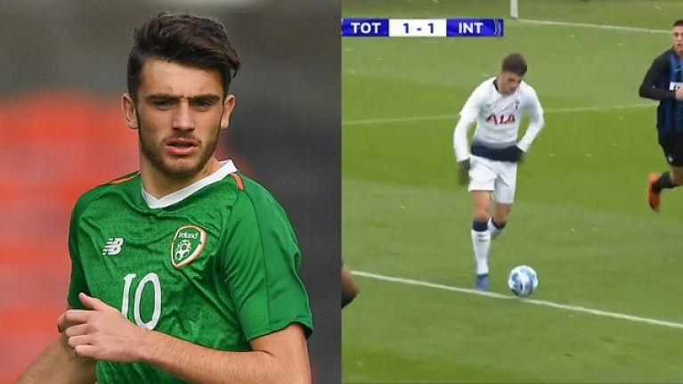 Troy Parrott scores stunning goal for Tottenham in Uefa Youth League game against Inter Milan