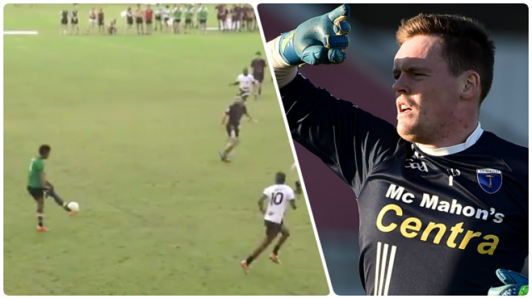 South Africa Gaels goalkeeper runs pitch in 9-a-side but look at Rory Beggan's position