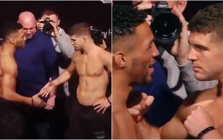 Kevin Lee and Al Iaquinta overcome incredibly awkward handshake for intense staredown