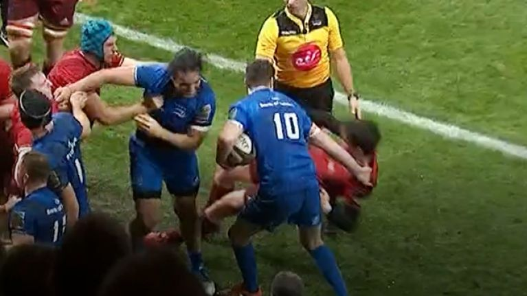 Johnny Sexton ragdolls Joey Carbery to the ground then lets him know all about it