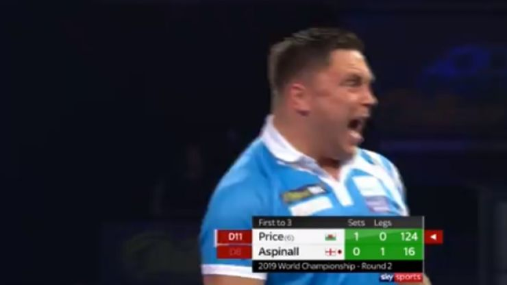 Gerwyn Price goes nuts after 124 checkout against Nathan Aspinall