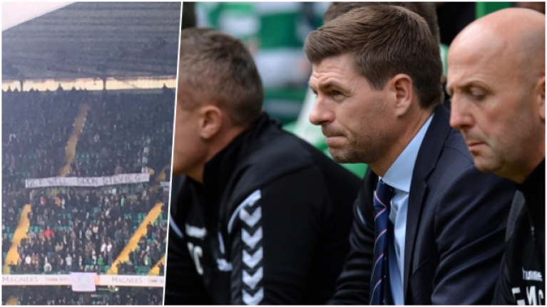 Celtic fans troll Steven Gerrard with banner during draw with Livingston