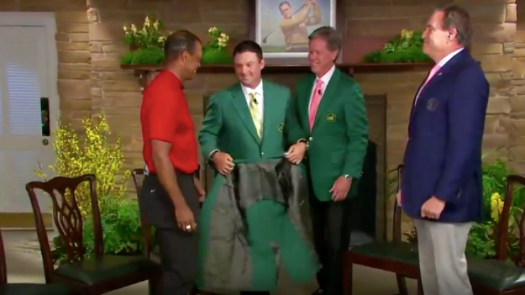 Patrick Reed is copping grief for how he presented Tiger Woods his green jacket