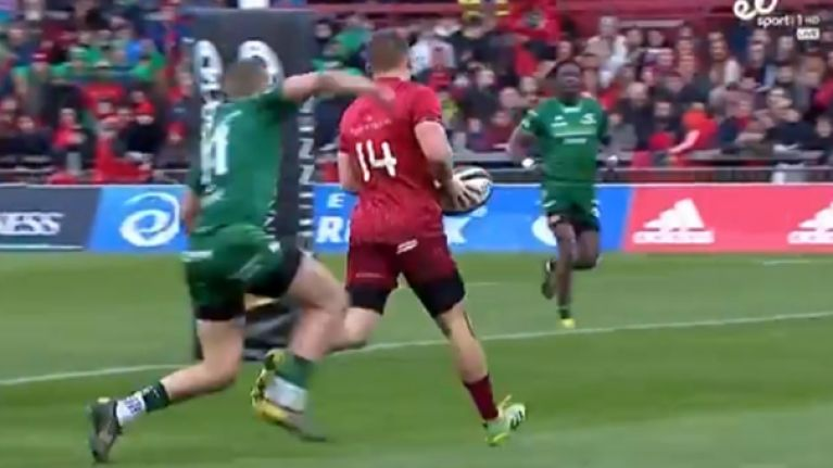 Andrew Conway bombs certain try after ball is knocked loose over the line