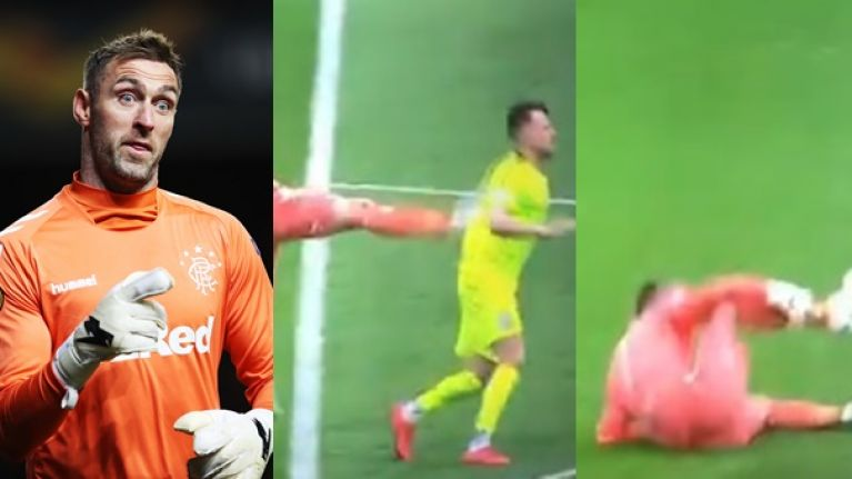 Rangers' Allan McGregor sent off for ridiculous kick