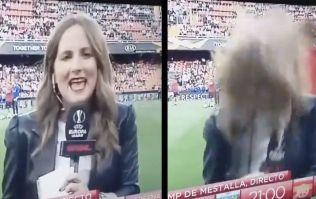 Reporter hit by ball as Arsenal players warmed up in Valencia