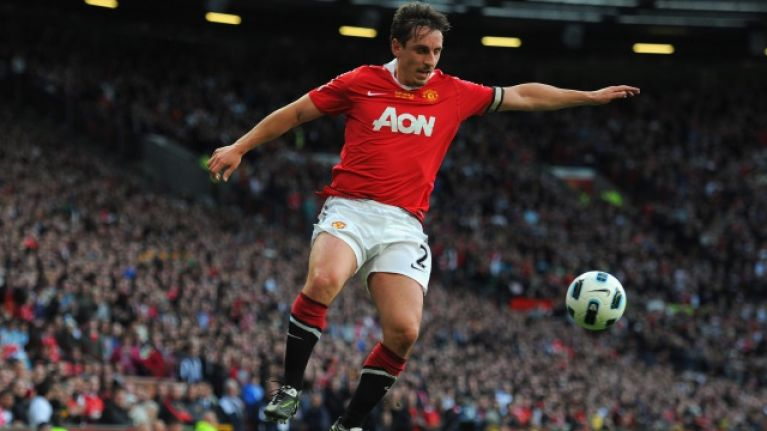 Gary Neville offers some full-back advice to Manchester United