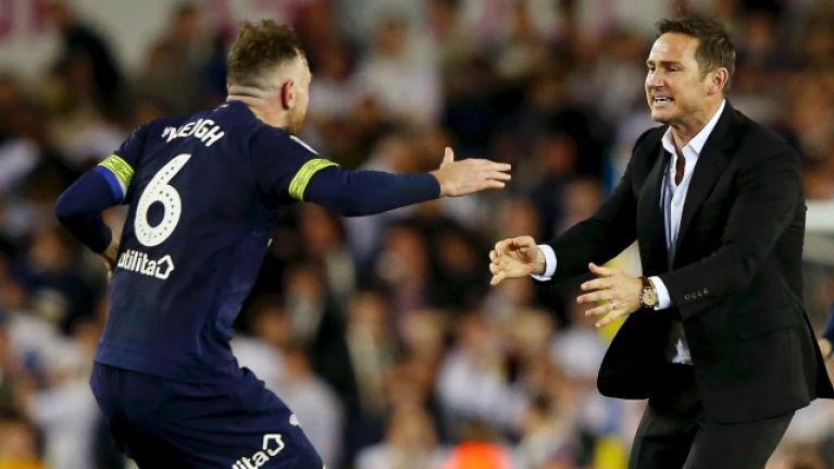 Frank Lampard made beeline for Richard Keogh after Derby's dramatic victory over Leeds