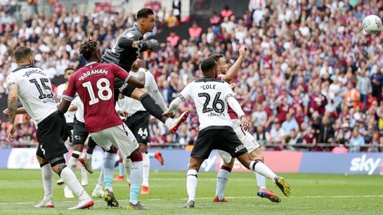 Derby goalkeeper's howler helps send Villa back to the Premier League