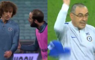 Higuain and Luiz stuck into each other, Sarri throws cap away
