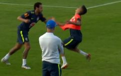 Neymar gets nutmegged by 19-year-old in training, so instantly fouls the youngster