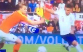 Jadon Sancho nutmegs Matthijs De Ligt during Nations League