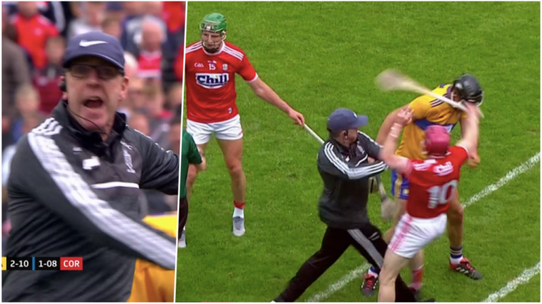 Clare manager sent off for flinging Cork player to ground