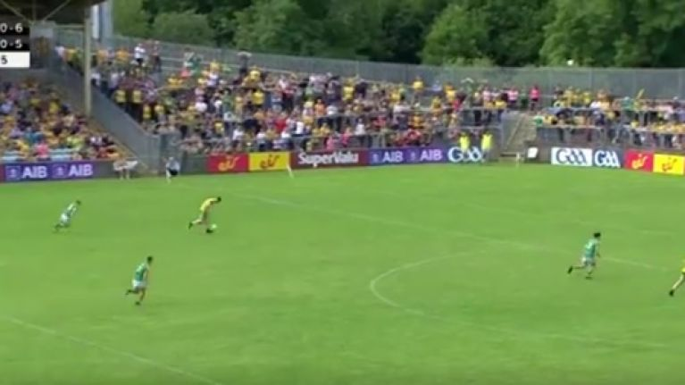 Paddy McBrearty flicks ball into hands before burying shot into the net