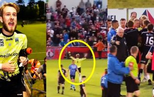 UCD keeper celebrates in front of Bohs fans kicking it all off at the UCD Bowl