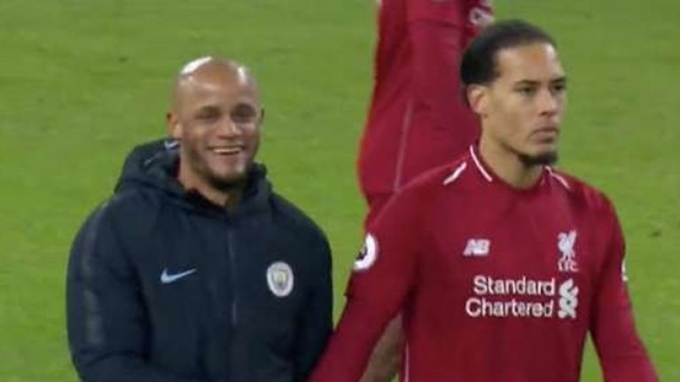 Virgil van Dijk was having none of Vincent Kompany's joke at full-time