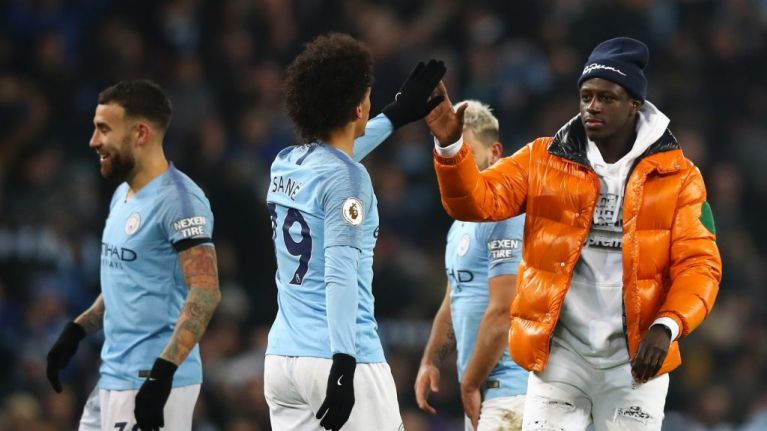 Stewards mistake Benjamin Mendy for pitch invader at final whistle of Man City win over Liverpool