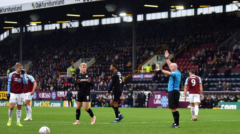 Watch VAR overrule Burnley penalty just as Vydra runs up to the ball