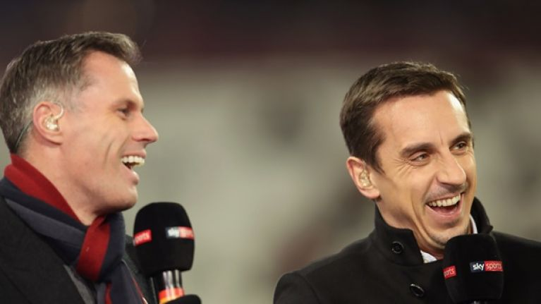 Jamie Carragher hopes Gary Neville emigrates if Liverpool wins the league