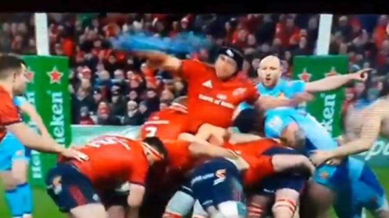 CJ Stander rips off Jonny Hill's jersey and throws it away
