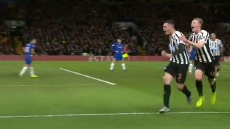 Watch: Ciaran Clark scores brilliant equaliser at Stamford Bridge