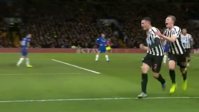 Watch: Ciaran Clark scores brilliant equaliser at Stamford Bridge