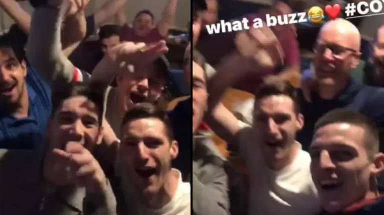 Declan Rice celebrates Arsenal win at the pub with West Ham fans