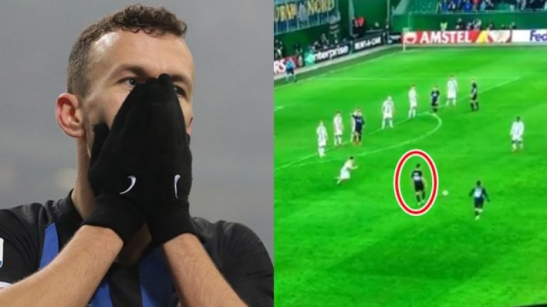 Ivan Perisic with how not to take a quick free-kick