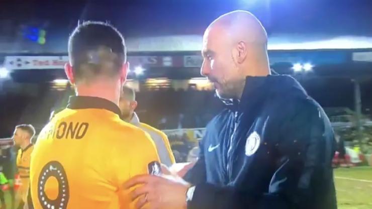 Pep Guardiola seeks out Irish striker Padraig Amond after Newport's gallant defeat