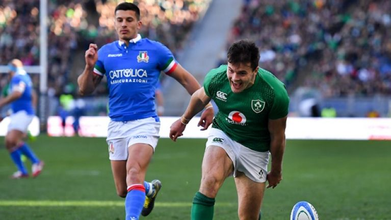 Watch: Jacob Stockdale scores straight from the restart in Rome