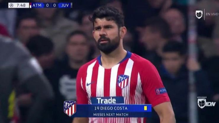Diego Costa to miss second leg after picking up mindless booking