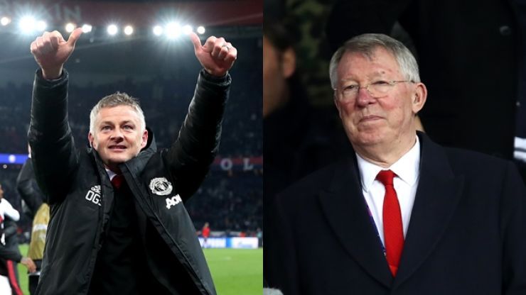 Alex Ferguson congratulated the Man United squad after they knocked PSG out of the Champions League