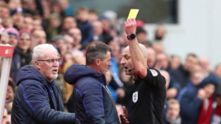 Roy Keane gets booked as Nottingham Forest assistant manager