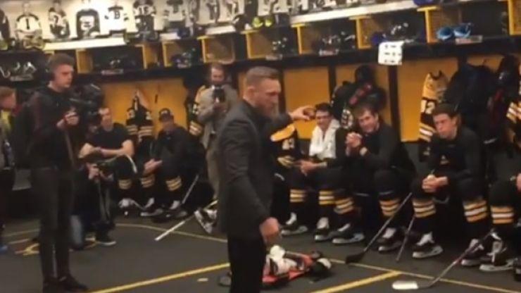Conor McGregor gives pre-match speech to Boston Bruins