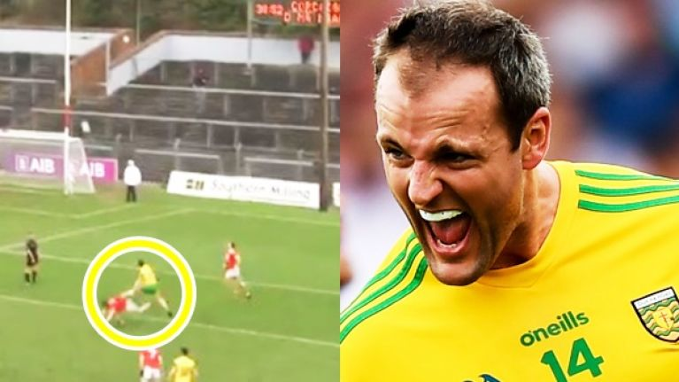 Michael Murphy skinning three Cork defenders on way to one of his best ever points