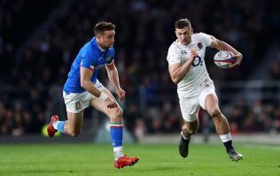 Jonny May tackles Italy physio during England Six Nations win