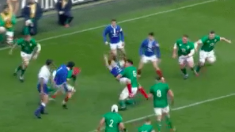 France scrum half finds out what happens when you take a run at James Ryan