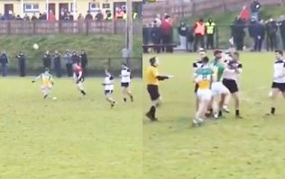 Offaly sub lamps Sligo kick-out out of pitch...for his county